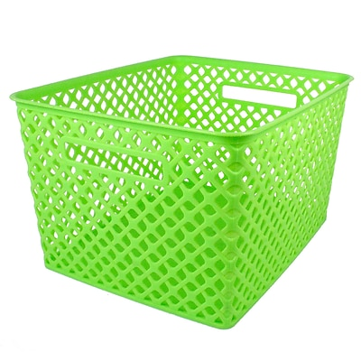 Romanoff Woven Basket, Large, Lime, 1 Each per Pack (ROM74215)