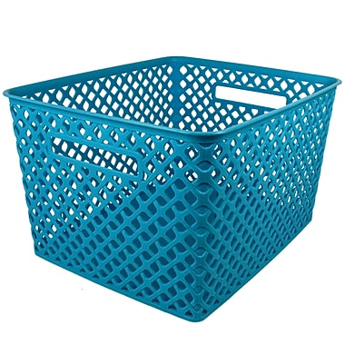 Romanoff Woven Basket, Large, Turquoise, 1 Each (ROM74208)
