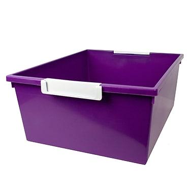 Romanoff Tattle™ Tray with Label Holder, 12 Qt., Purple, Set of 3 (ROM53606)