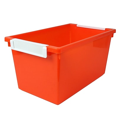 Romanoff Tattle™ Tray with Label Holder, 5 Qt., Orange, Set of 3 (ROM53409)