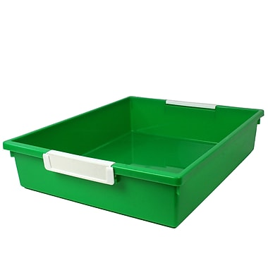 Romanoff Tattle™ Tray with Label Holder, 6 Qt., Green, Set of 3 (ROM53505)