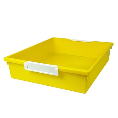 Romanoff Tattle™ Tray with Label Holder, 6 Qt., Yellow, Set of 3 (ROM53503)