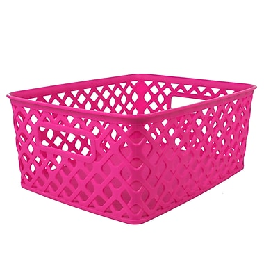 Romanoff Woven Basket, Small, Hot Pink, Set of 3 (ROM74007)