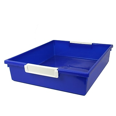 Romanoff Tattle™ Tray with Label Holder, 6 Qt., Blue, Set of 3 (ROM53504)