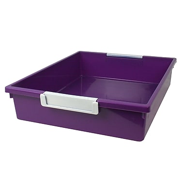 Romanoff Tattle™ Tray with Label Holder, 6 Qt., Purple, Set of 3 (ROM53506)