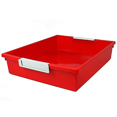 Romanoff Tattle™ Tray with Label Holder, 6 Qt., Red, Set of 3 (ROM53502)