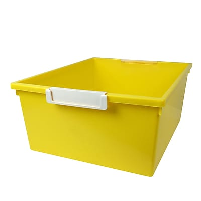 Romanoff Tattle™ Tray with Label Holder, 12 Qt., Yellow, Set of 3 (ROM53603)