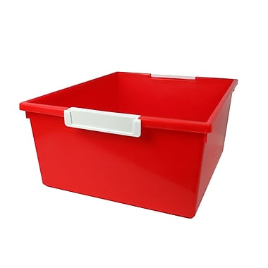 Romanoff Tattle™ Tray with Label Holder, 12 Qt., Red, Set of 3 (ROM53602)
