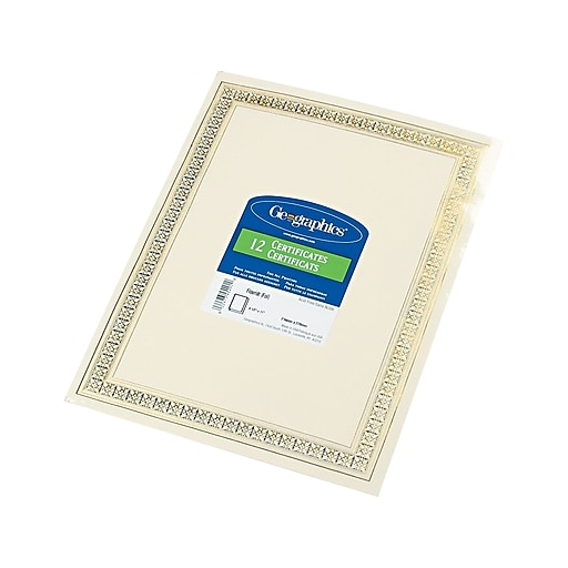 Geographics Flourish Certificates, Ivory/Gold Foil, 12/Pack (45492)
