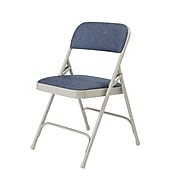 NPS #2205 Fabric Padded Premium Folding Chairs, Imperial Blue/Grey - 4 Pack