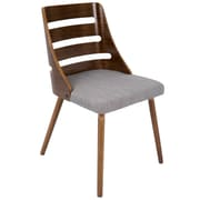 Lumisource Trevi Mid-Century Modern Dining Chair by LumiSource, Grey Woven Fabric, Walnut Wood Frame (CHR-TRV WL+GY)