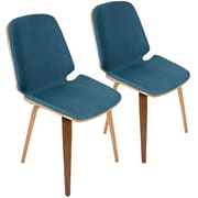 Lumisource Serena Mid-Century Modern Dining Chairs in Blue Fabric and Walnut Wood - Set of 2 (CHR-SER WL+BU2)