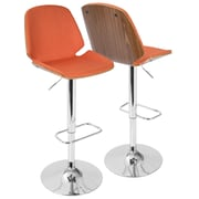 LumiSource Serena Mid-Century Modern Barstool in  Fabric and Walnut Wood, (BS-SER WL+O)