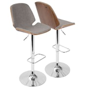 LumiSource Serena Mid-Century Modern Barstool in  Fabric and Walnut Wood, (BS-SER WL+GY)