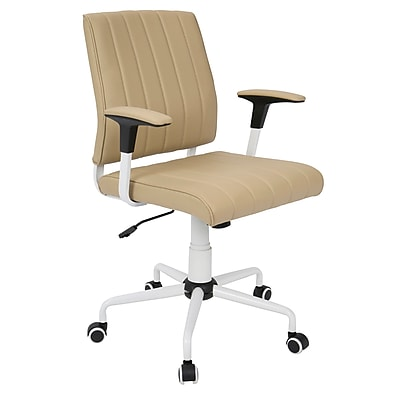 Lumisource Cache Contemporary Faux Leather Office Chair, Cashmere/White (OFC-CACH W+BG)