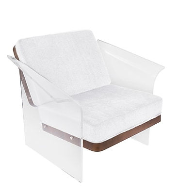 Lumisource Float Chair in White Mohair Fabric accented by Walnut Wood and Acrylic Frame (CHR-FLOAT WL+W)