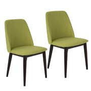 Lumisource Tintori Mid-Century Dining Chairs in Green Fabric, Set of 2 (CHR-TNT GN+BN2)