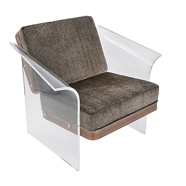 Lumisource Float Chair in Brown Mohair Fabric accented by Walnut Wood and Acrylic Frame (CHR-FLOAT WL+BN)
