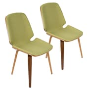 Lumisource Serena Mid-Century Modern Dining Chairs in Green Fabric and Walnut Wood - Set of 2 (CHR-SER WL+GN2)