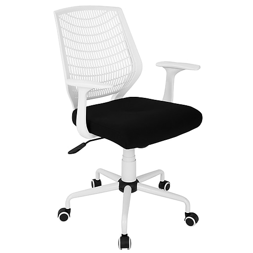Lumisource Network Adjustable Fabric Office Chair, White/Black (OFC-NET  W+BK)