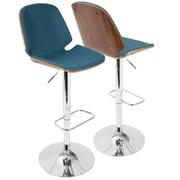 LumiSource Serena Mid-Century Modern Barstool in  Fabric and Walnut Wood, (BS-SER WL+BU)