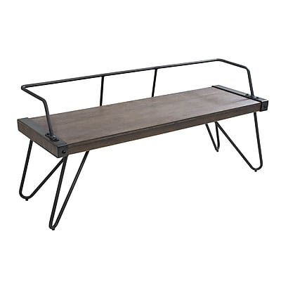Lumisource Stefani Industrial Bench in Antique Metal and Walnut Wood (DC-STFBEN WL+AN)
