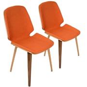 Lumisource Serena Mid-Century Modern Dining Chairs in Orange Fabric and Walnut Wood - Set of 2 (CHR-SER WL+O2)