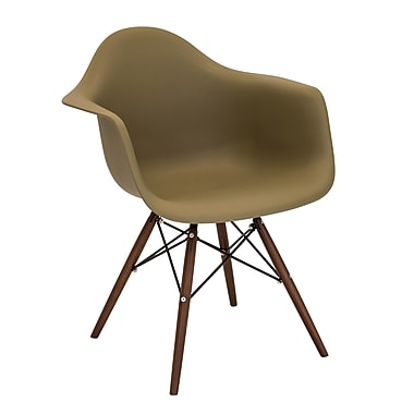 Lumisource Neo Flair Mid-Century Modern Chairs in Olive with Espresso Legs - Set of 2 (CH-NFLPP OLV+E2)