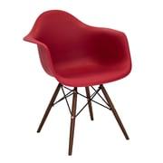 Lumisource Neo Flair Mid-Century Modern Chairs in Red with Espresso Legs - Set of 2 (CH-NFLPP R+E2)