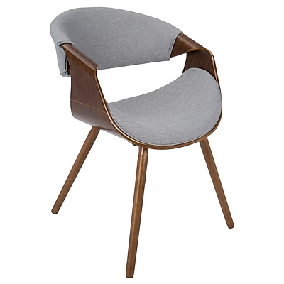 Lumisource Curvo Mid-Century Modern Walnut Chair with Grey Fabric Seat (CH-CURVO WL+GY)