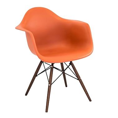 Lumisource Neo Flair Mid Century Modern Chairs in Orange with Espresso Legs, 2/Set (CH-NFLPP O+E2)