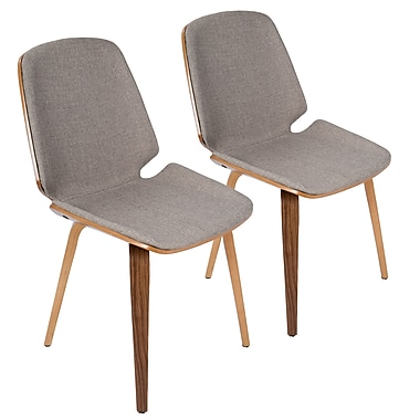 Lumisource Serena Mid Century Modern Dining Chairs in Light Grey Fabric and Walnut Wood, 2/Set (CH-SER WL+LGY2)
