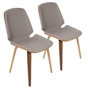 Lumisource Serena Mid-Century Modern Dining Chairs in Light Grey Fabric and Walnut Wood - Set of 2 (CHR-SER WL+LGY2)