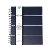 """Undated Kahootie Co. 8"""" x 10"""" Planner, Home and Work, Navy Mini Stripe (ITKHWNMS-H)"""
