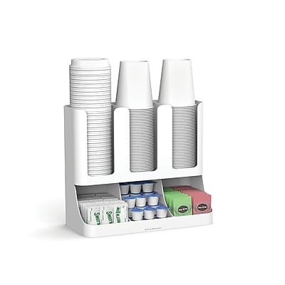 Mind Reader 'Flume' 6 Compartment Upright Coffee Condiment and Cups Organizer, White (UPRIGHT6-WHT)