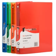 "JAM Paper 3/4"" 3-Ring Fashion Binders, Assorted, 4/Pack (750T1RGBOR)"