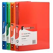 """JAM PAPER Plastic .75"""" 3-Ring Binders, Assorted Colors, 4/Pack (75T1RGBOR)"""