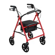 "Drive Medical Steel Walker Rollator with 8"" Wheels, Red"