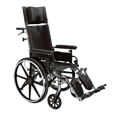Drive Medical Viper Plus GT Full Reclining Wheelchair, Detachable Full Arms, 16