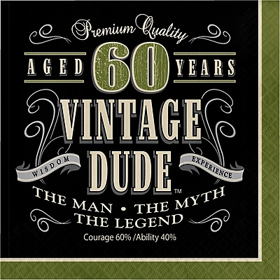 Creative Converting Vintage Dude 60th Birthday Napkins 16 pk (661667)