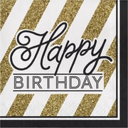 Creative Converting Black and Gold Birthday Napkins 16 pk (317546)