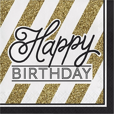 Creative Converting Black and Gold Birthday Napkins 16 pk (317546)