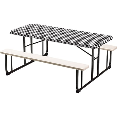 Creative Converting Stay Put Tablecover Black Check, 29