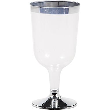 Creative Converting Silver Rimmed 6 oz Plastic Wine Glasses 8 pk (317311)
