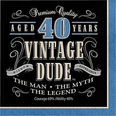 Creative Converting Vintage Dude 40th Birthday Napkins 16 pk (664067)