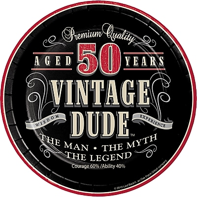 Creative Converting Vintage Dude 50th Birthday Dessert Plates 8 pk (411567)