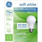 GE Lighting Energy Efficient 53 Watts Soft White Halogen Bulb, 2/Pack (63004)