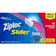 Ziploc Slider Storage Bags, 1 Quart, 76/Carton (SCJ662102)