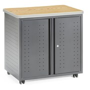 OFM Mesa Series Wheeled Locking Mobile Utility Station Cabinet with Laminate Top, Oak (66746-OAK)