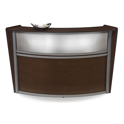 OFM Marque Series Single Unit Plexi Reception Station, Walnut with Silver Frame (55310-WLNT)